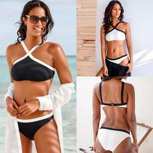 High Waist Bikini 2019 Sexy Bikini Set Push Up Swimwear Women Two Piece Swimsuit Bathing Suit Women Black White Beachwear Halter sexy halter sleeveless high waist spliced bikini set for women