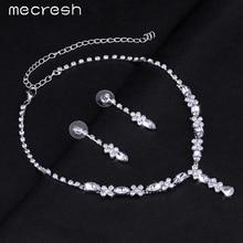 Mecresh Simple Teardrop African Jewelry Set Choker Necklace and Earrings Rhinestone Crystal Bridal Wedding Jewelry Sets TL002