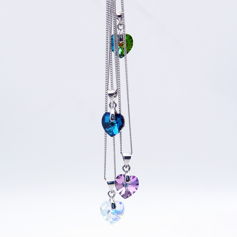 Jewelry & Access. ...  ... 32821769625 ... 2 ... BAFFIN Mini Heart Necklaces Pendant Crystals From Swarovski For Women Girls Gift Silver Color Chain Kids Jewelry Decorations ...