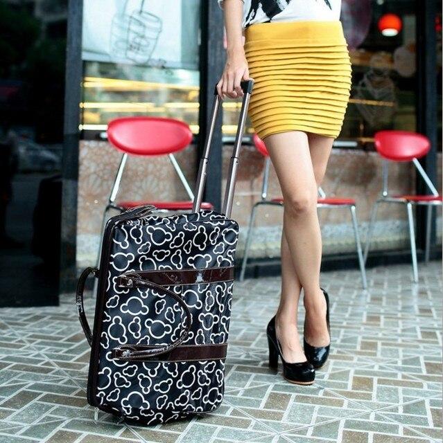 НОВЫЙ 20 дюймов женская мода микки чемодан тележка дорожные сумки на колесах рука роллинг багажа кожа pu