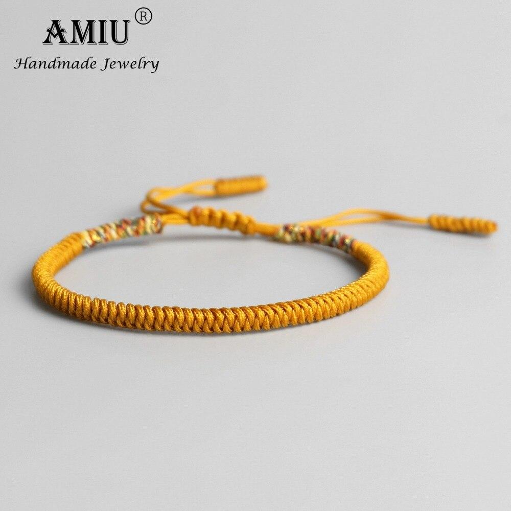 AMIU Tibetan Buddhist Lucky Charm Tibetan Bracelets & Bangles For Women Men Handmade Knots Golden Rope Christmas Gift Bracelet