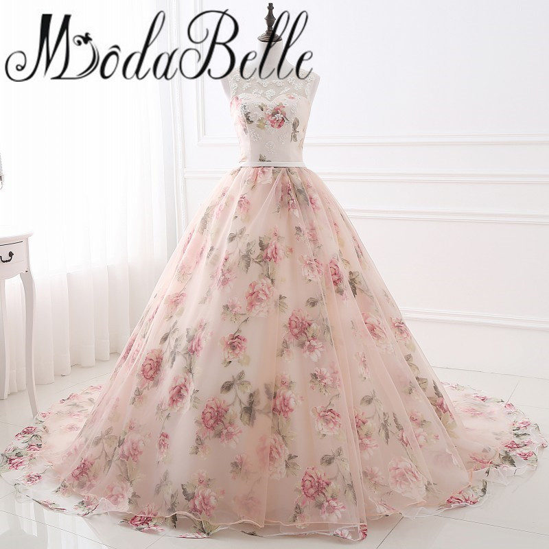 Beautiful Flower Print Floral Wedding Dresses Real Photo