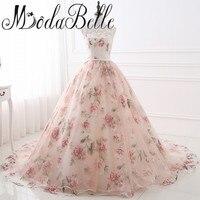 Beautiful Cheap Flower Print Floral Wedding Dresses Real Photo Princess Simple Lace Pink Blush Bridal Ball