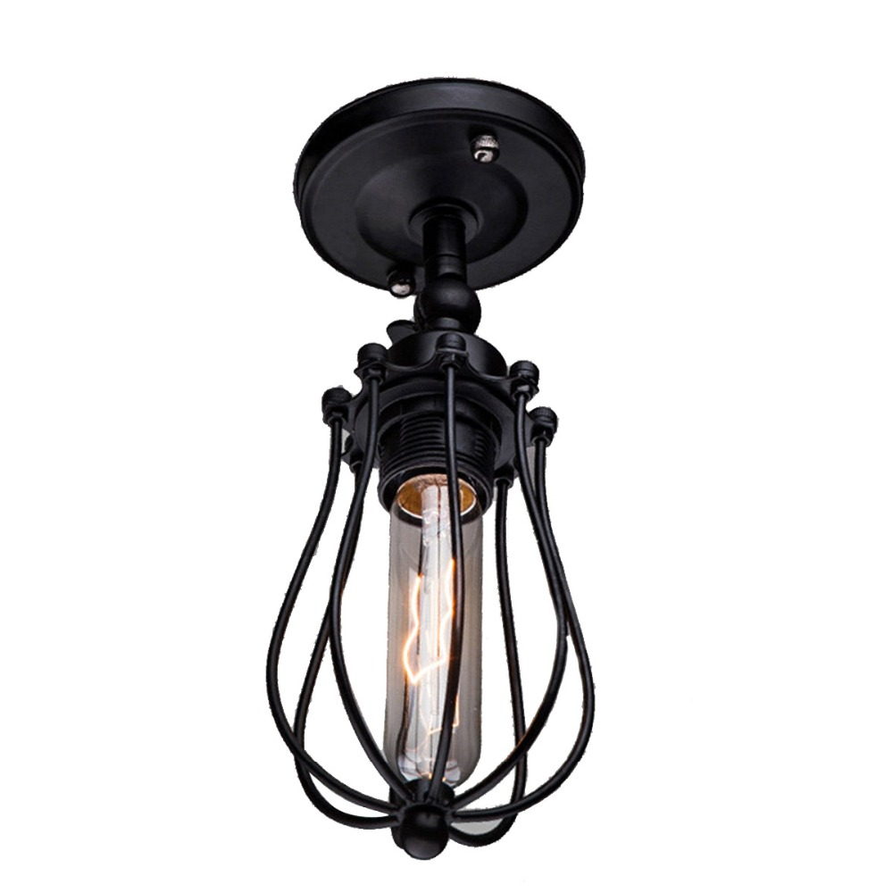 ФОТО Retro Cage Shaped Nordic Industrial Style Ceiling Light Iron Material E27 Antique Indoor Lamp Decor Lighting Free Shipping