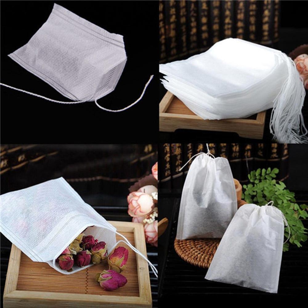 100 pcs Teabags Empty Tea Bag String Heat Seal Filter Paper Herb Loose Tea Bag Home Teaware Non-Woven Fabric Disposable Tea Bags