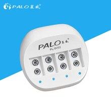 شاحن بطارية PALO 4 فتحة 9 فولت قابل لإعادة الشحن لبطاريات ليثيوم أيون 9 فولت مع شاشة عرض led