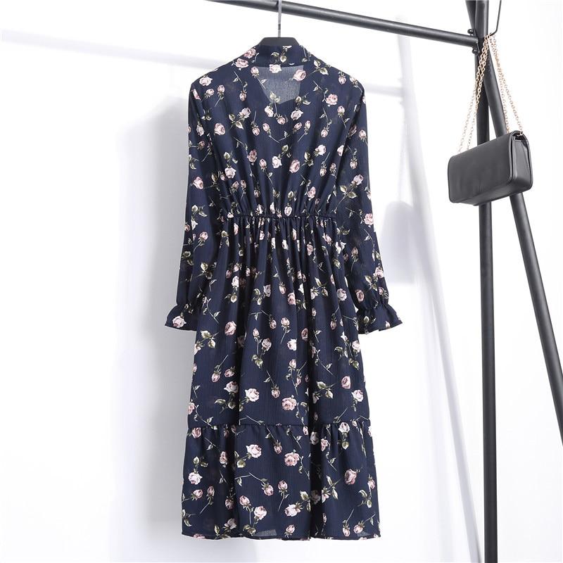 Summer Korean Chiffon Women Dress Elegant Ladies Vintage Long Dress Boho Floral Office Long Sleeve Vestidos Clothing 5LYQ003 25