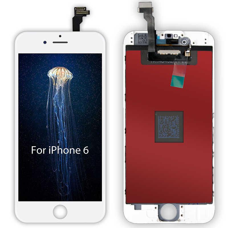 الأبيض والأسود AAAAA العلامة التجارية جديد لفون 6 6G شاشة الكريستال السائل مجموعة المحولات الرقمية لشاشة تعمل بلمس ل iPhone6 4.7 ''لا الميت بكسل + هدية