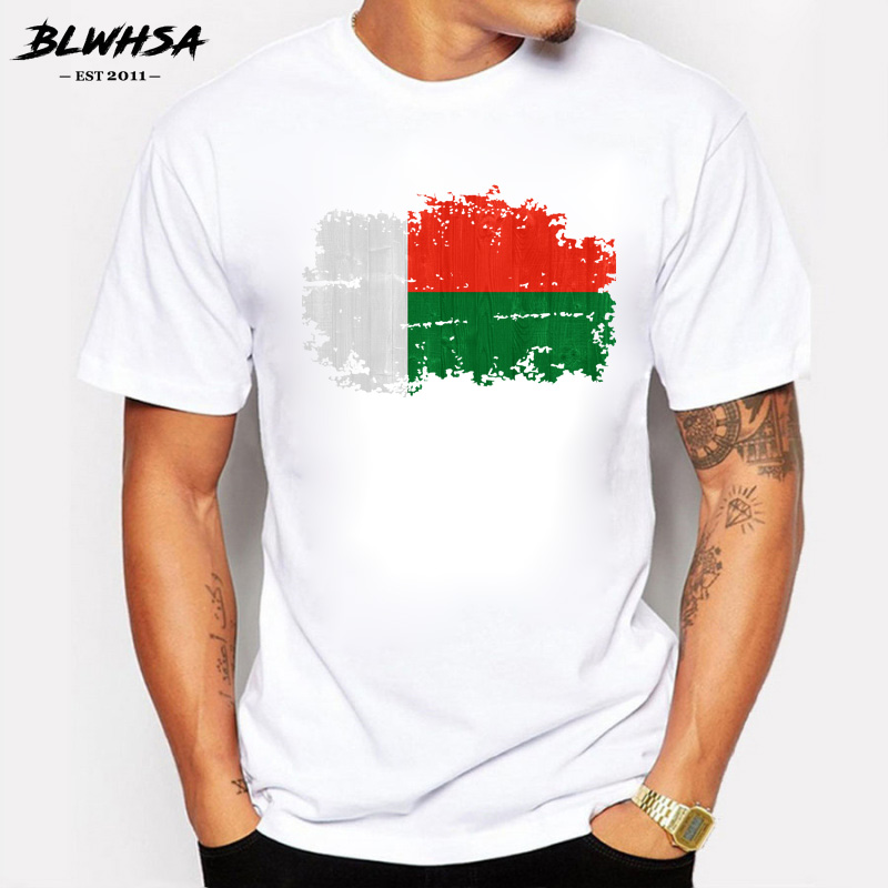 BLWHSA Madagascar Flag Men   T     Shirts   Short Sleeve O-neck Cotton Tops Tees Summer Fashion National Flag   T  -  shirts   Men