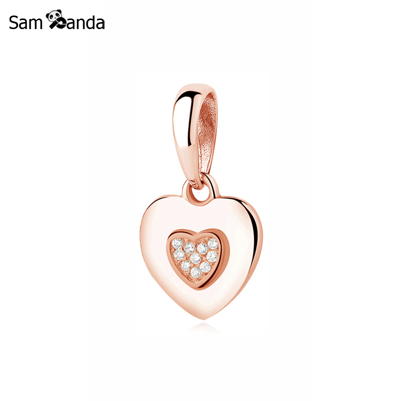 100% 925 Sterling Silver Charm Bead Love Heart Dangle Charms Rose Gold Necklace Pendant Fit Pandora Bracelets Diy Women Jewelry cso 17 delicate rose flower pendant necklace charm gold silver beauty rose jewelry necklace for women