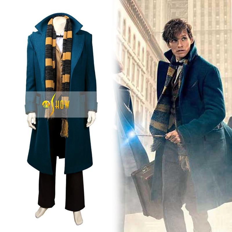 Фантастические звери и где их найти, Ньют скамандер Косплэй костюм для взрослых Для мужчин Для женщин Хэллоуин на заказ зимнее пальто