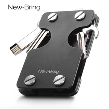 NewBring Multi-functional Metal Money Clip Men with Credit Card Wallet and key holder