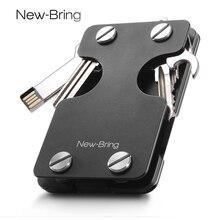 NewBring Multi functional โลหะคลิปเงินผู้ชายกระเป๋าสตางค์บัตรเครดิตและที่ใส่กุญแจ