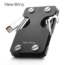 NewBring wielofunkcyjny metalowy klip na pieniądze mężczyźni z portfel na karty kredytowe i brelok