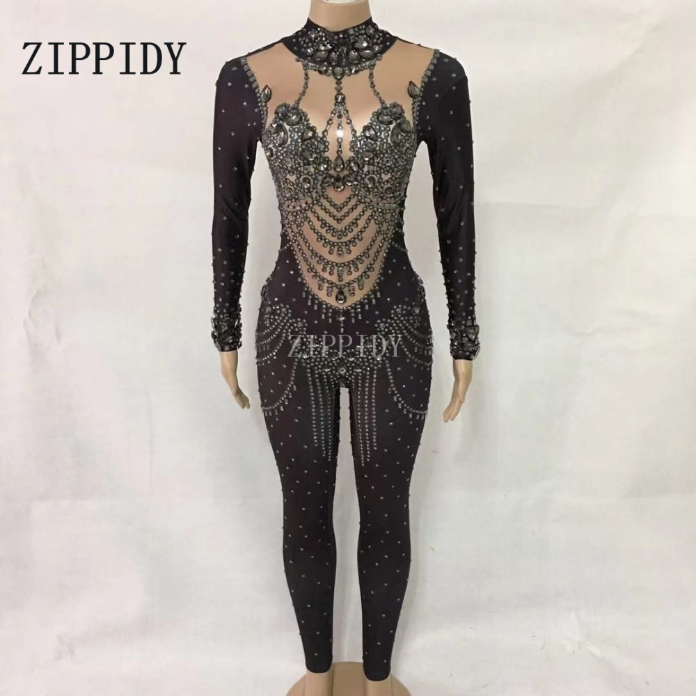 Sparkly Colorful Crystals Sexy Rompers Show Costume Female Singer Stage Wear Rhinestones Stretch Outfit Womens Skinny Jumpsuit Home