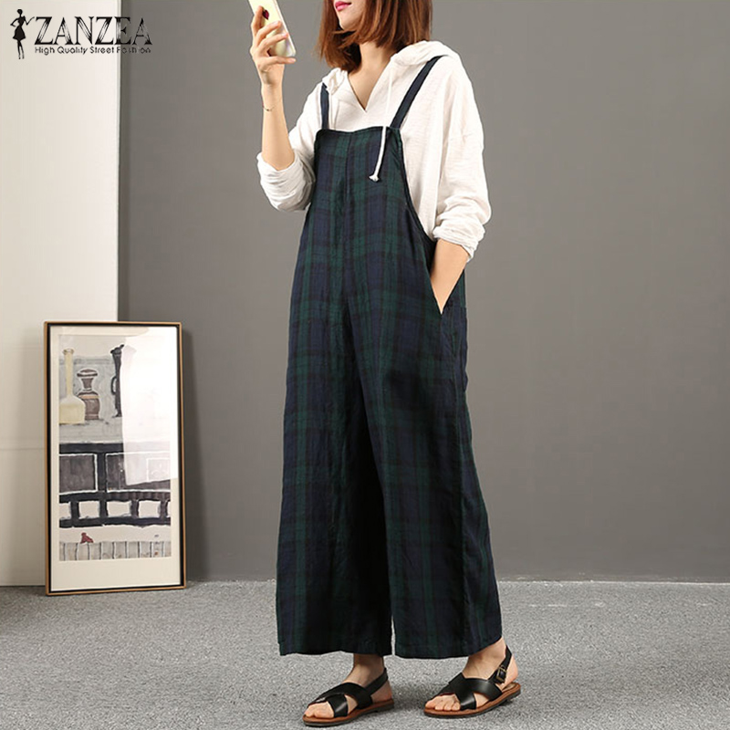 Oversized ZANZEA Women Cotton Linen Jumpsuits Summer Bib Overalls Casual Strappy Plaid Check Pockets Loose Rompers Dungarees
