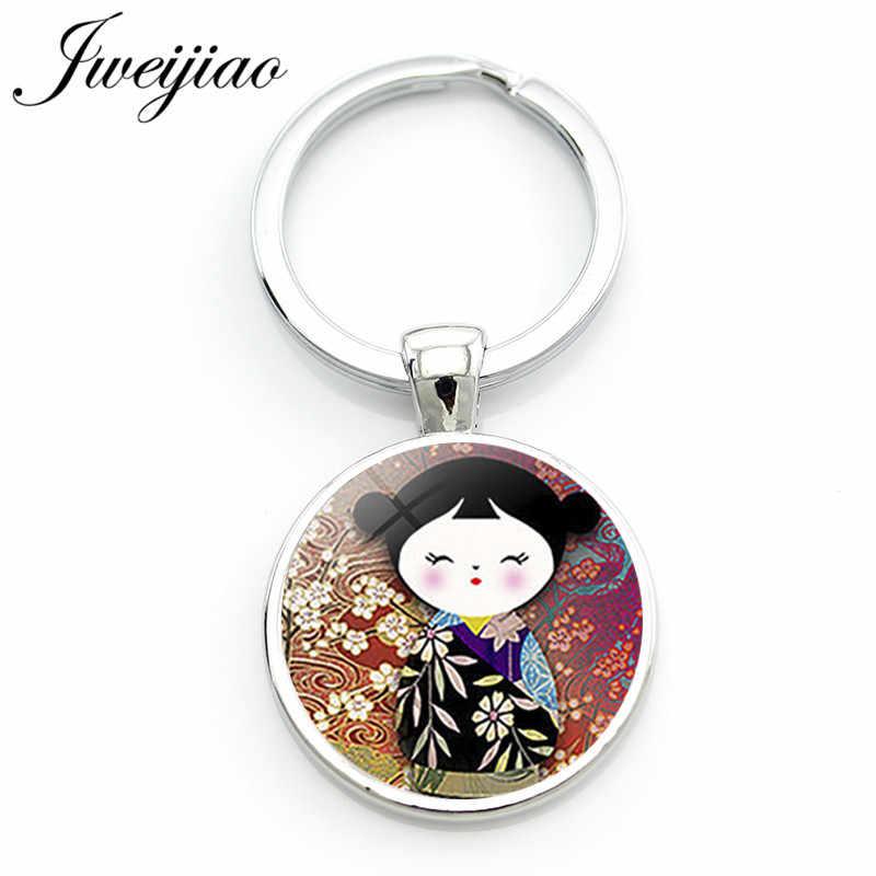 JWEIJIAO традиционный Русский Кукла-брелок для ключей Матрешка японские куклы изображение стеклянные драгоценные камни брелок держатель подвеска «сделай сам» на заказ JN14