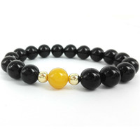 High Quality 10MM Black Onyx Agate Beads Bracelet Round Yellow Agate With 6mm 24K Gold Plated