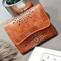 DUDINI Carteira Estilo Europeu e Americano Cor Sólida Oco PU Mulheres de couro Carteira de Alta Qualidade 3 Vezes das Mulheres Pequenas carteira