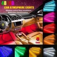 48 led قطاع أضواء السيارات 8 الألوان البعيد/صوت الموسيقى تحكم 12 فولت rgb drl مرنة ادى الشرائط جو أضواء