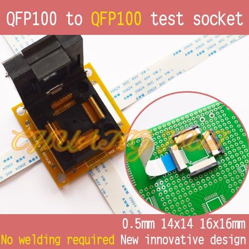 PQFP100 TQFP100 LQFP100 QFP100 para teste QFP100 socket Pitch = 0.5mm Tamanho = 14x14mm 16x16mm Sem solda