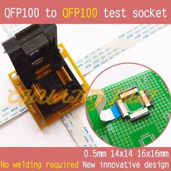 QFP100 to QFP100 test socket TQFP100 LQFP100 PQFP100 Pitch=0.5mm Size=14x14mm 16x16mm No welding free shipping tqfp100 fqfp100 lqfp100 burn in socket otq 100 0 5 09 pin pitch 0 5mm ic body size 14x14mm open top test adapter