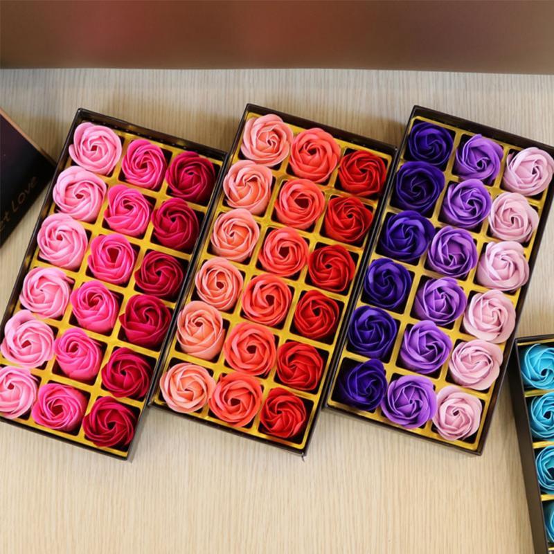 18Pcs Creative Gradient Simulation Rose Soap Flower Rose For Wedding For Women Bath Soap