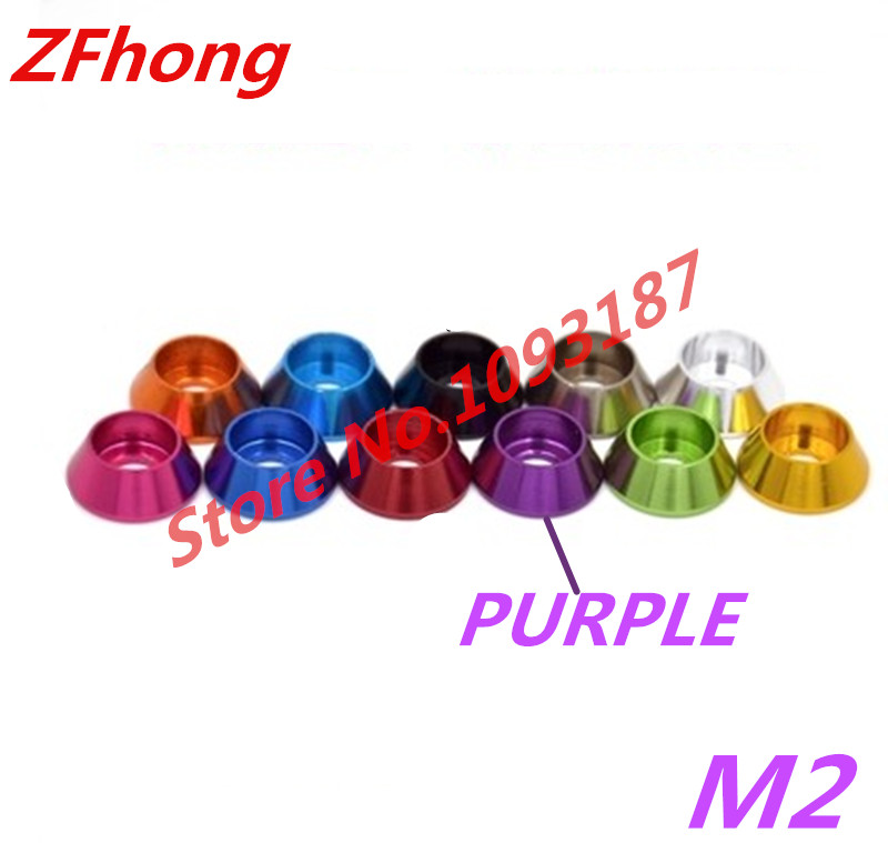 100pcs M2.5 Purple Colour socket cap head aluminum cone washer
