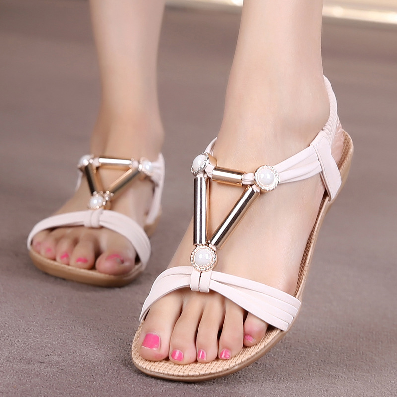 Women Shoes Bohemia Style Ankle-strap Flip Flops Summer Flat Shoes Woman Ladies Shoes Sandalias Mujer Women Sandals lucyever women vintage square toe flat summer sandals flock buckle casual shoes comfort ankle strap women footwear mujer zapatos