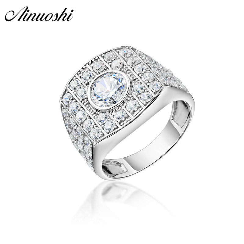 AINOUSHI 925 Sterling Silver Men Wedding Engagement Round Halo Ring Male Silver Anniversary Ring Party Gift Jewelry hombre suenaAINOUSHI 925 Sterling Silver Men Wedding Engagement Round Halo Ring Male Silver Anniversary Ring Party Gift Jewelry hombre suena