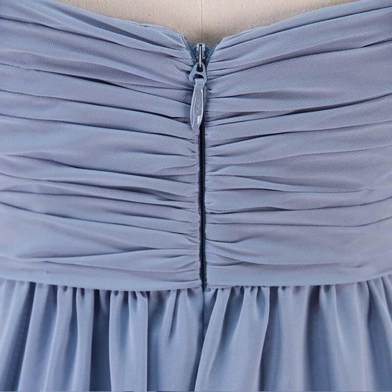 Steel Blue Long Chiffon Bridesmaid Dresses Wedding Party Dress 6