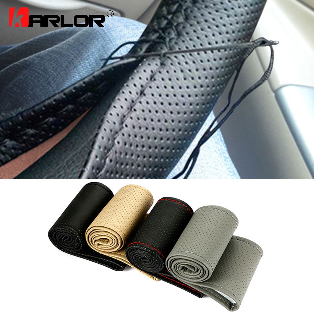 Braid On Steering Wheel Car Steering Wheel Cover With Needles and Thread Artificial leather Diameter 38cm Auto Car Accessories(China)