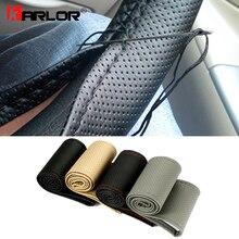 Trenza en el volante protector para volante de coche con agujas e hilo de cuero Artificial diámetro 38cm accesorios para automóvil