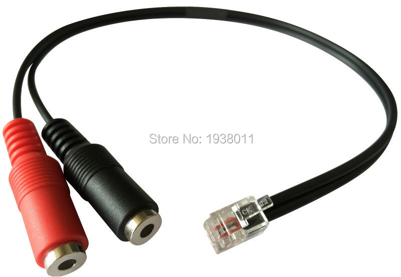Headset Buddy Adapter: PC Headset to Phone Jack, RJ9/RJ10/RJ11 to Dual 3.5mm Adapter computer headphones with mic to RJ9 phone