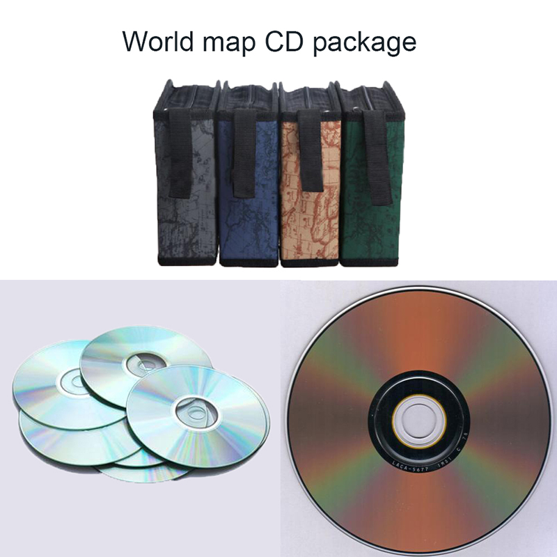 2019 Large Capacity 40 Disc Map Stripe Carry Box Holder Package Car  Case Album DVD/CD Organizer Protective Cover Storage Bag