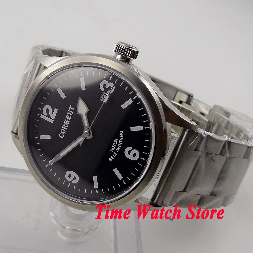 41mm corgeut black dial white marks luminous sapphire glass 20ATM 21 jewels MIYOTA Automatic men's watch cor68 polisehd 41mm corgeut black dial sapphire glass miyota automatic mens watch c102