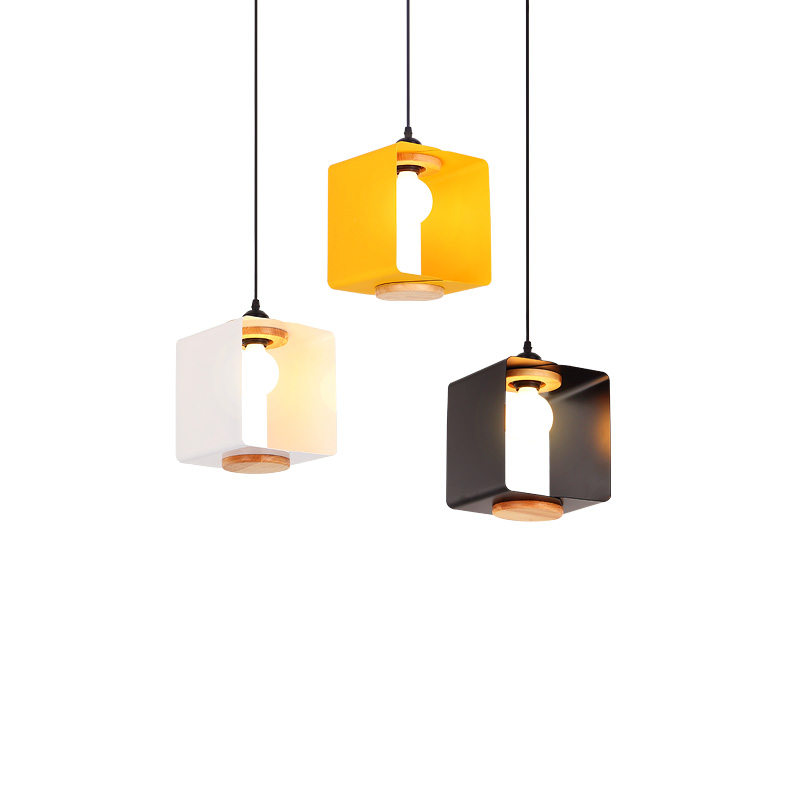 Modern Black / Yellow / White Iron Pendant light Bedroom Bedside Table Bar Creative Square Dining Room Pendant lamps Z117036Modern Black / Yellow / White Iron Pendant light Bedroom Bedside Table Bar Creative Square Dining Room Pendant lamps Z117036