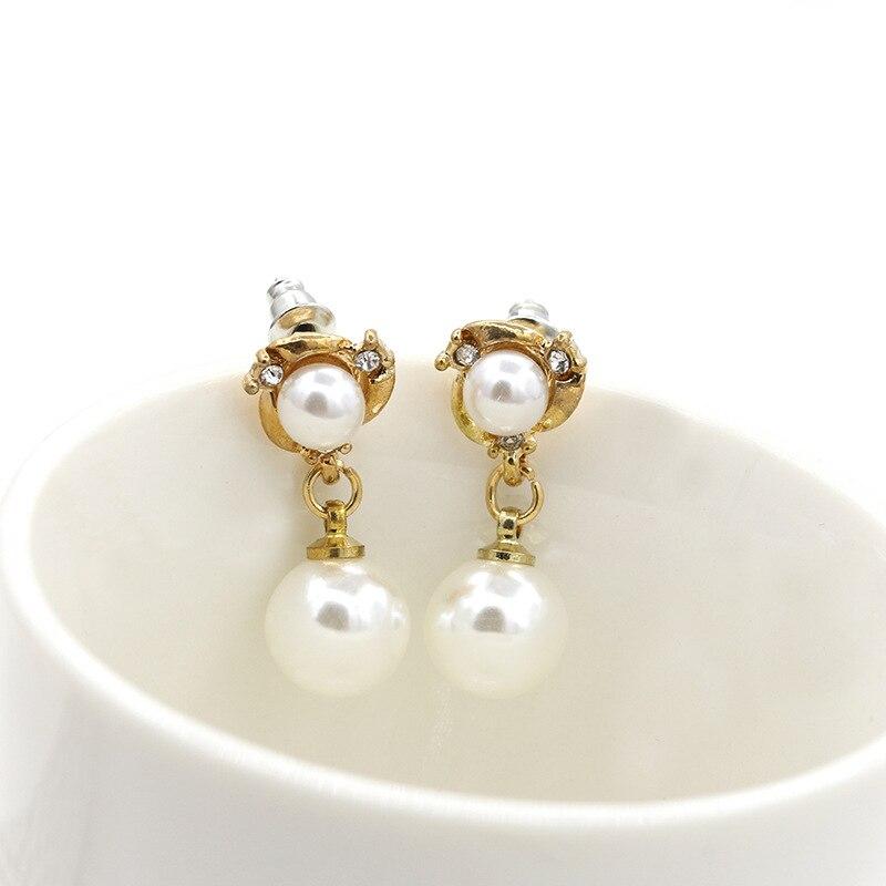 Diamantes De Imitación Flor Doble Stud Stud Pendientes Cristal