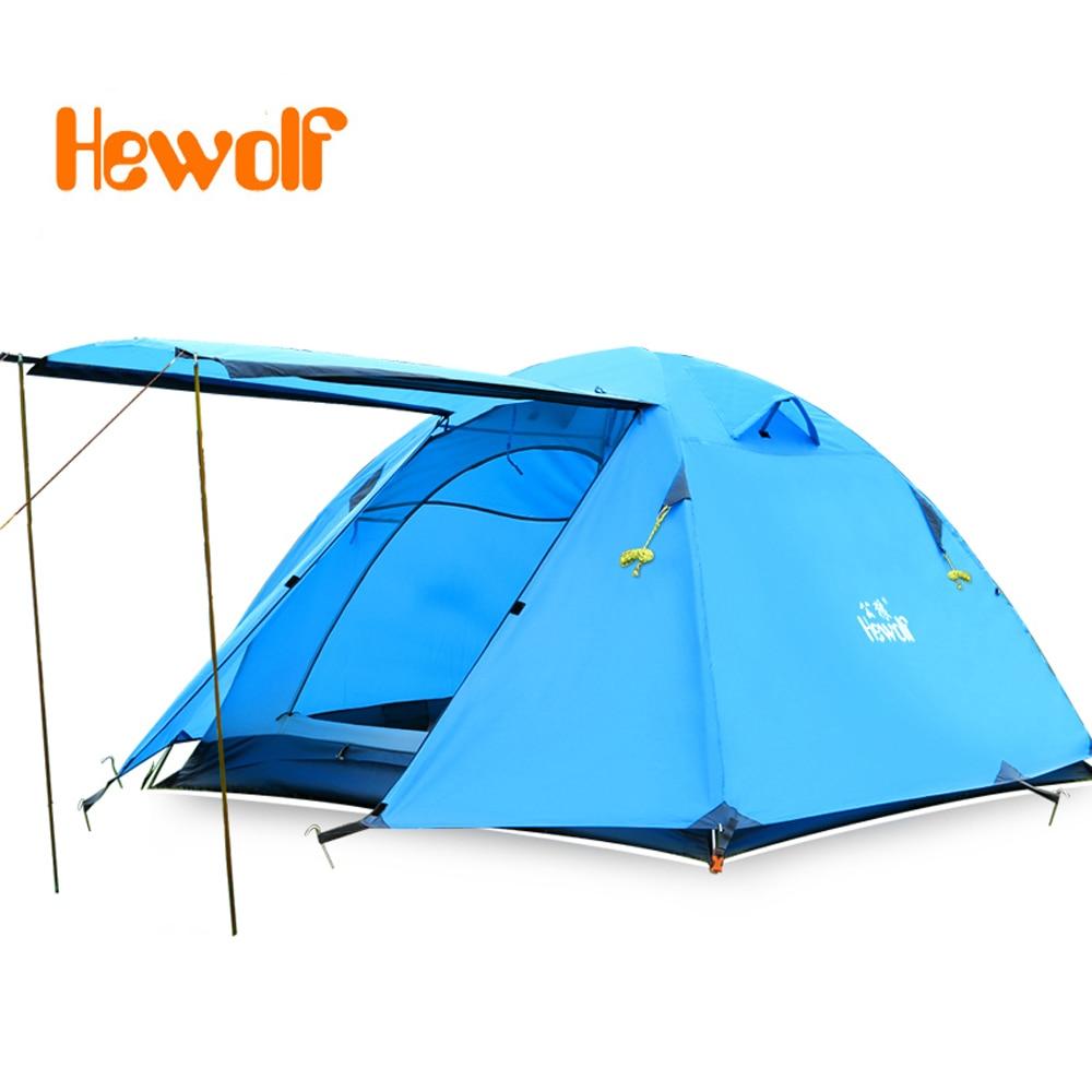3-4 persons Doubledoor Aluminum Pole Tent Camping Windproof Waterproof Double Layer Tent Ultralight Outdoor Hiking Picnic tents