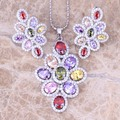 Terrific Multicolor Multigem 925 Sterling Silver  Earrings Pendant Necklace  Jewelry Sets S0816