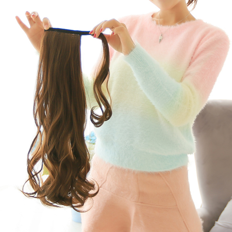 Bybrana 24'' Long Wavy Ponytail Clip In Pony Tail Wigs Hair Extensions Wrap On Fake Hair Piece Fake Hair Tail Ponytails