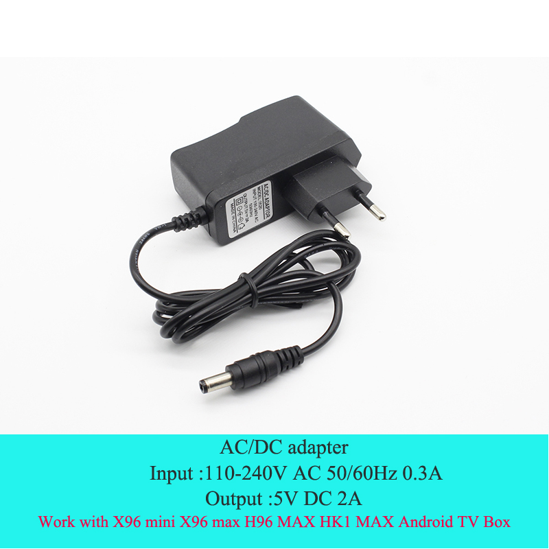 110-240V AC/DC Power Adapter Supply Charger Adapter 5V 2A EU Plug 5.5mm*2.1mm DC Plug Micro USB For X96 Min X96 Max H96 Max TX6