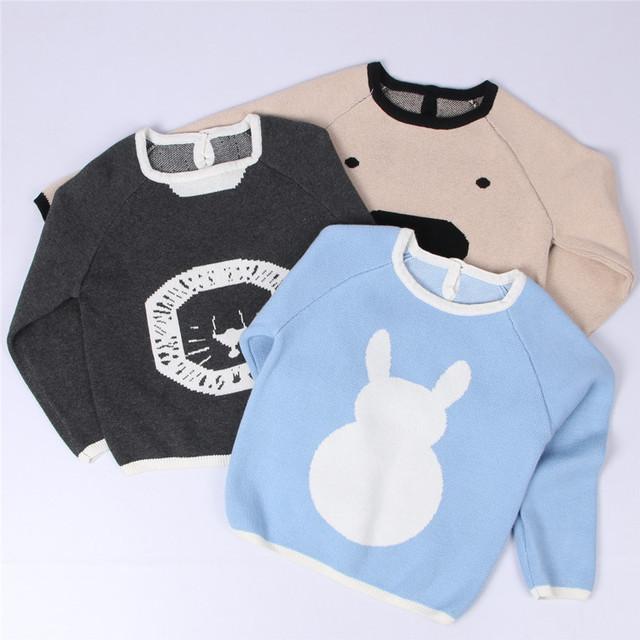 INS nuevo otoño Europeo niños cerdo conejo patrón de suéter de la muchacha ropa de bebé de algodón de manga larga knitting top