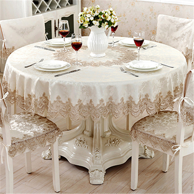 European Classical Round Tablecloth For Table Decor Jacquard Lace Elegant  Table Cloth Dining Table Cabinet Cover