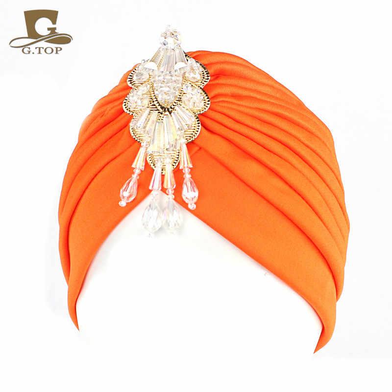 NEW Luxury Divas turban Head wrap hat  with beaded pendant women Headwear