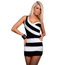 New Arrival Women's One Shoulder Dress Black And White Striped V-Neck Clubwear Costume For Lady 422