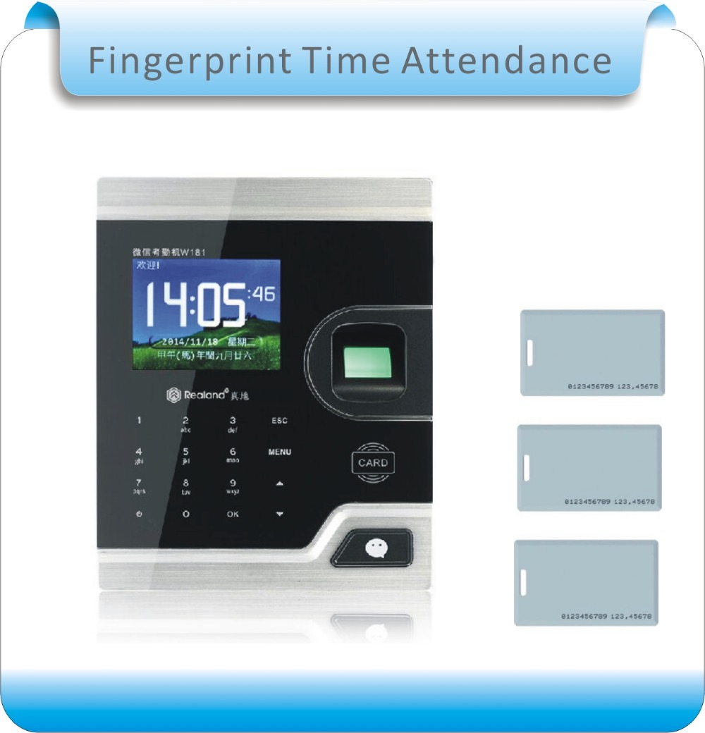 8 kinds language cloud service 125KHZ RFID&Fingerprint Time Attendance Clock Recorder Employee Digital Electronic time recorder