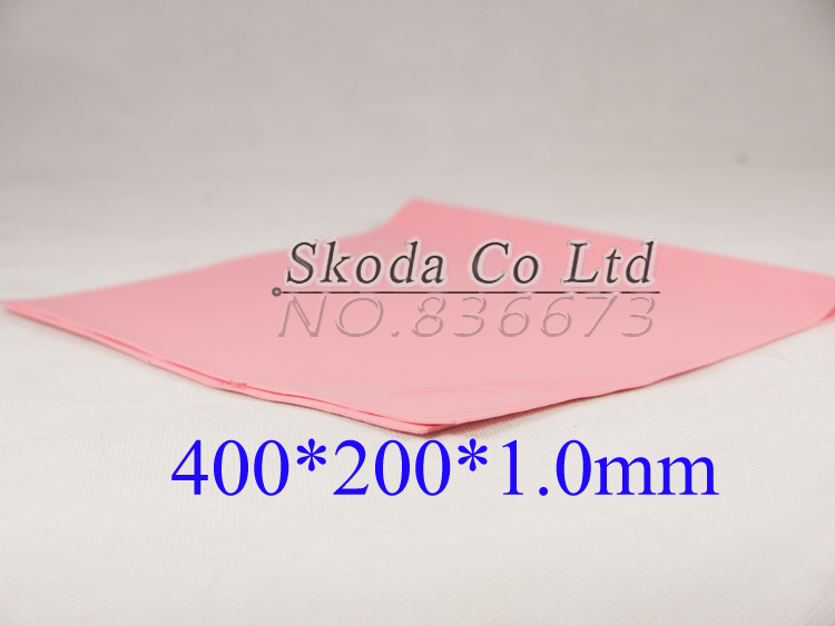 Free shipping pink Thermal Pad GPU CPU Heatsink Cooling Conductive Silicone 400mm*200mm*1mm Thermal Conductivity 4w/m-K synthetic graphite cooling film paste 300mm 300mm 0 025mm high thermal conductivity heat sink flat cpu phone led memory router