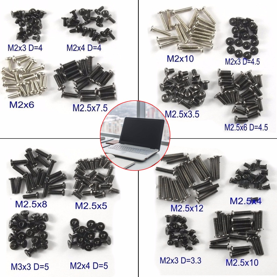 320Pcs/Set Laptop Computer Notebook Screws Kit Assemble Fastening Flat Head Black Repair Case For IBM Dell Lenovo Samsung