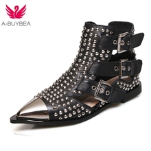 New Metal Studded Rivets Short Boots Sandal Woman Pointy Toe Buckle Straps Martin Boots Cut Out Fashion Cool Shoes Woman цена